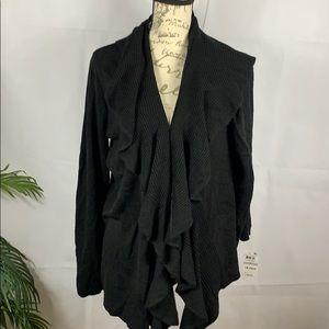 Karen Scott black ruffle cardigan